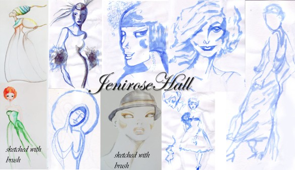 Ink sketches with water brush loaded with blue ink