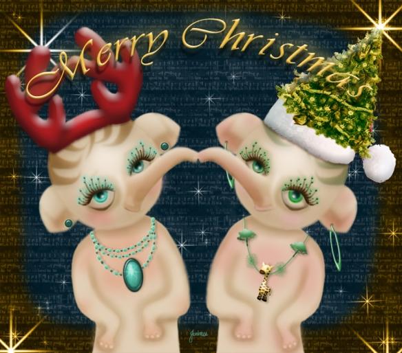 Elephant twins Christmas